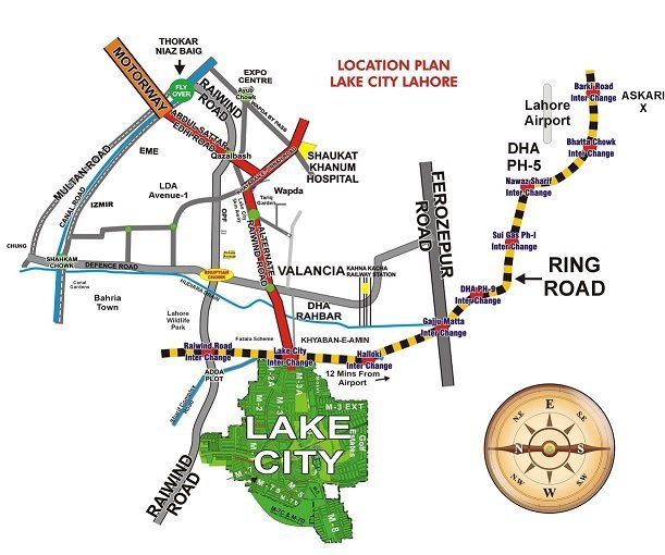 Location Plan Lake City Lahore