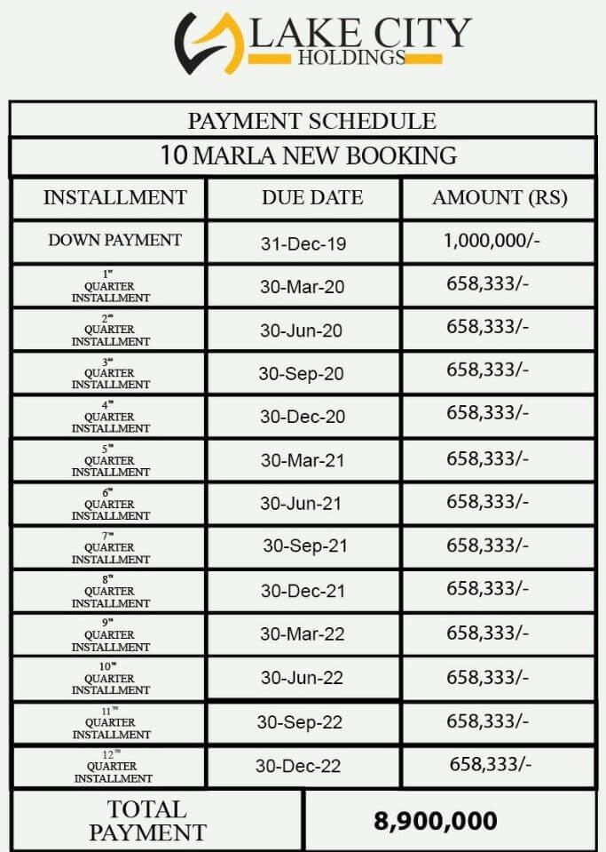 10 Marla new Booking 89 lacs