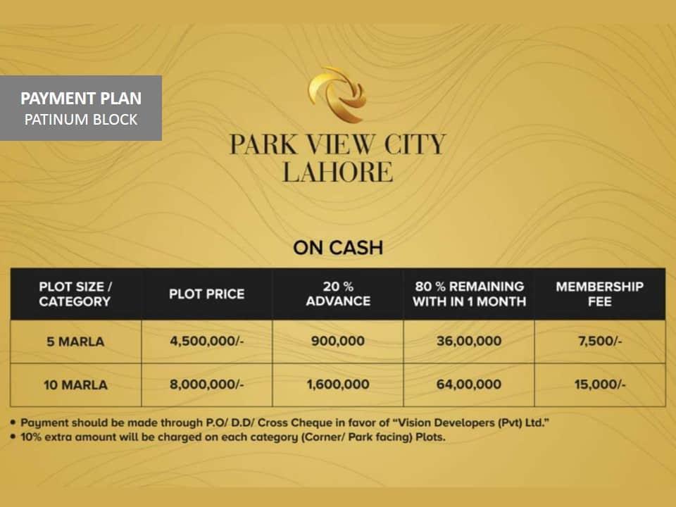 Lahore Park View City Platinum Block Payment Plan